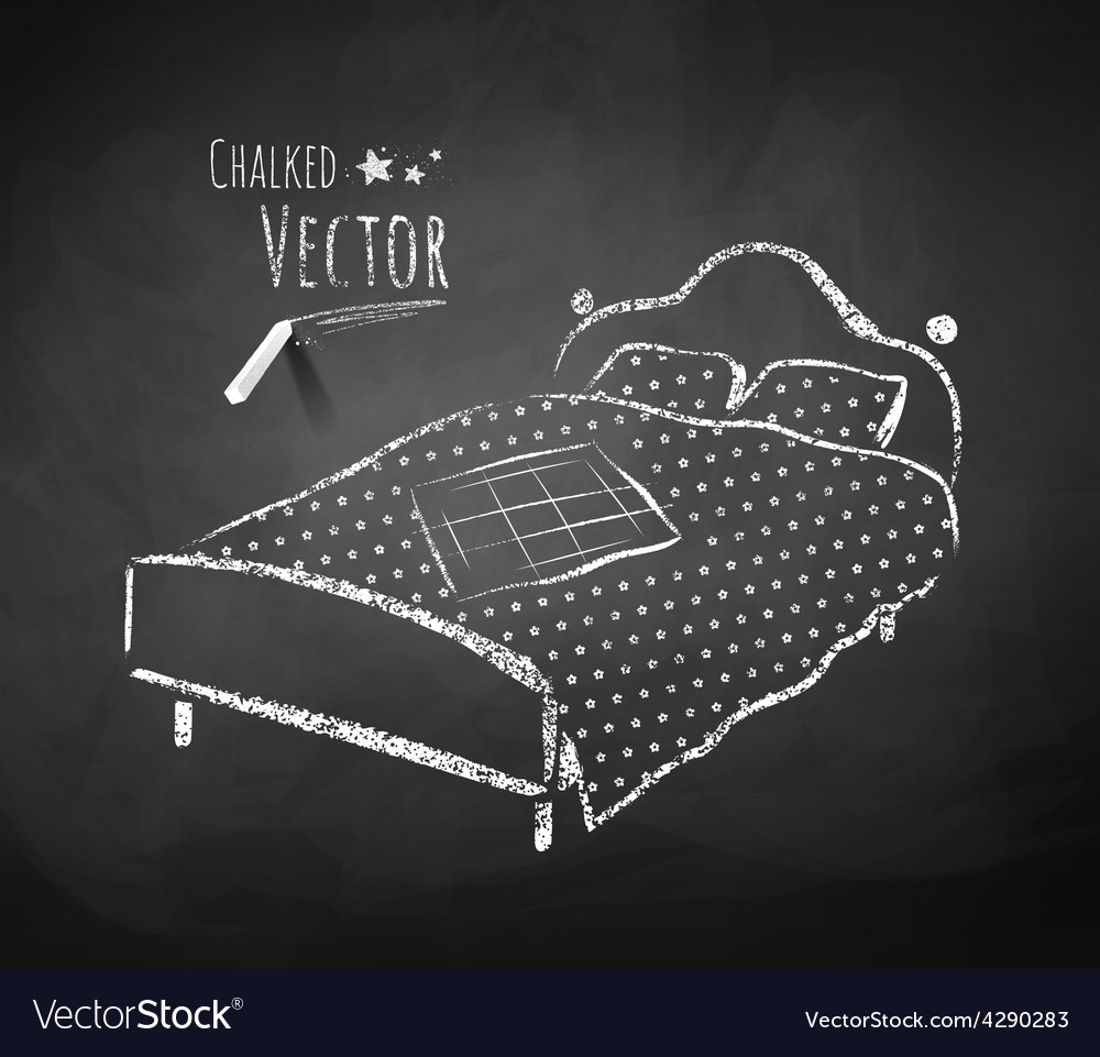 Chalkboard drawing of bed vector | Price: 1 Credit (USD $1)