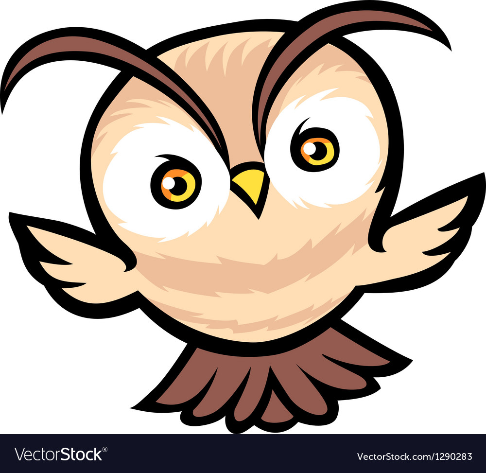 Flying owl cartoon vector | Price: 1 Credit (USD $1)
