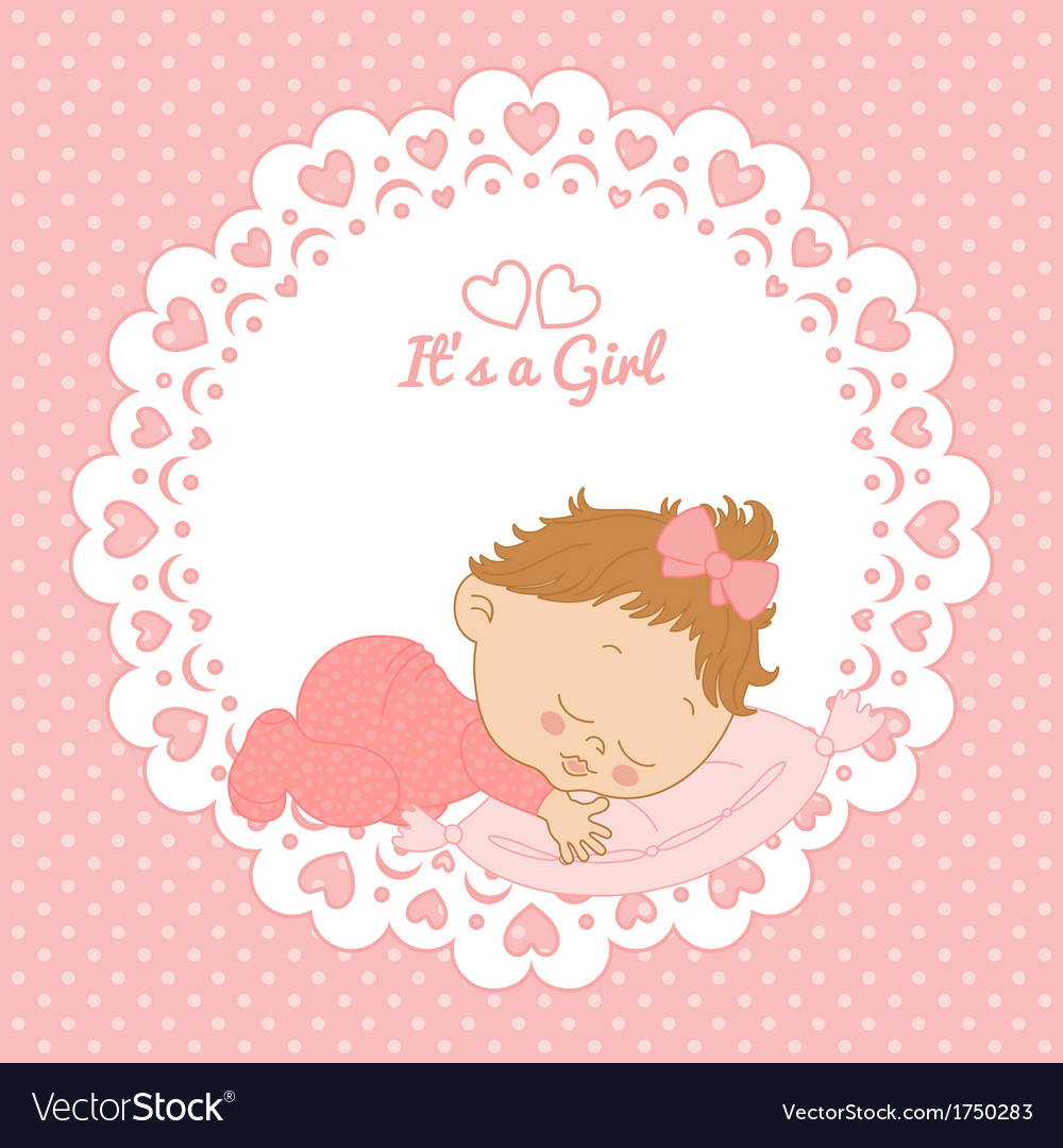 Greeting card with birthday girl vector | Price: 1 Credit (USD $1)