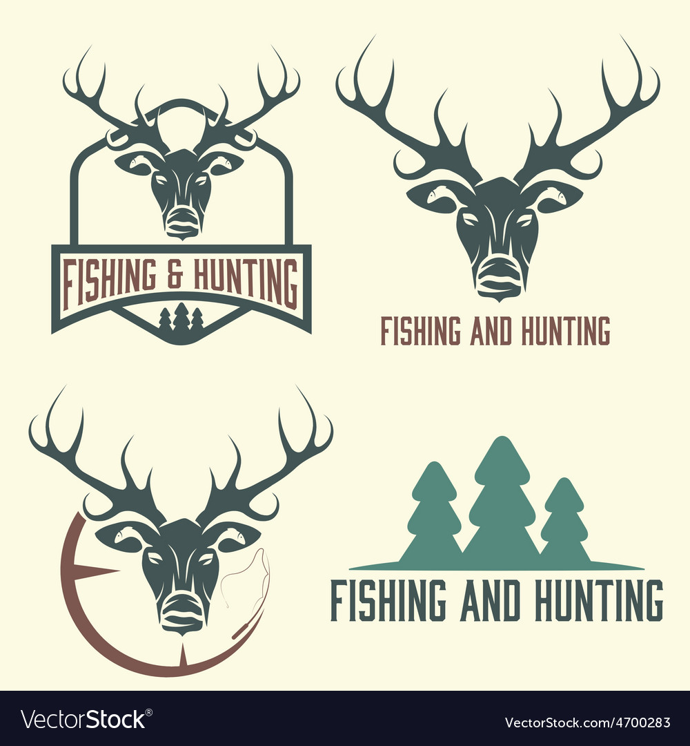 Hunting and fishing vintage set vector | Price: 1 Credit (USD $1)