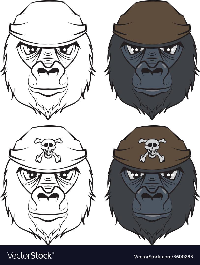 Set gorilla head tattoo vector | Price: 1 Credit (USD $1)