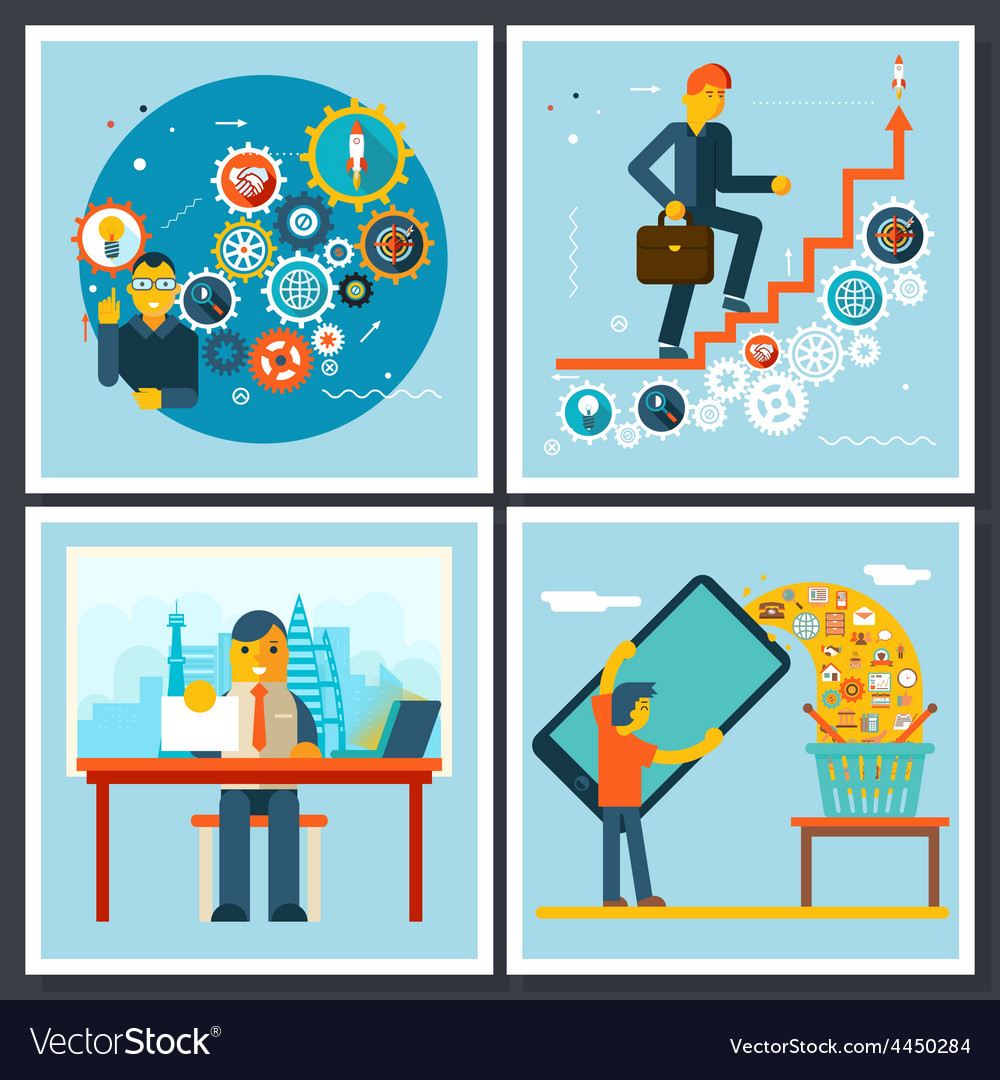 Businessman characters scenes symbol icons on vector
