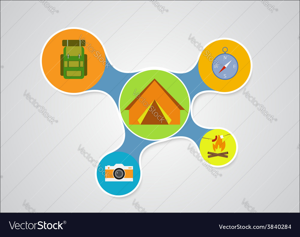 Camping graphic in round style outdoor elements on vector | Price: 1 Credit (USD $1)