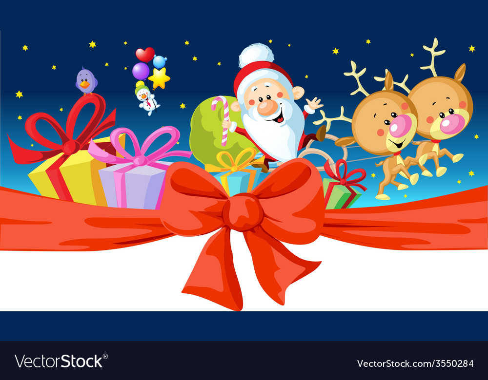 Christmas design - santa rides in a sleigh vector | Price: 1 Credit (USD $1)