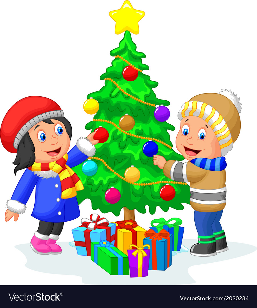 Happy kids cartoon decorating a christmas tree wit vector | Price: 1 Credit (USD $1)