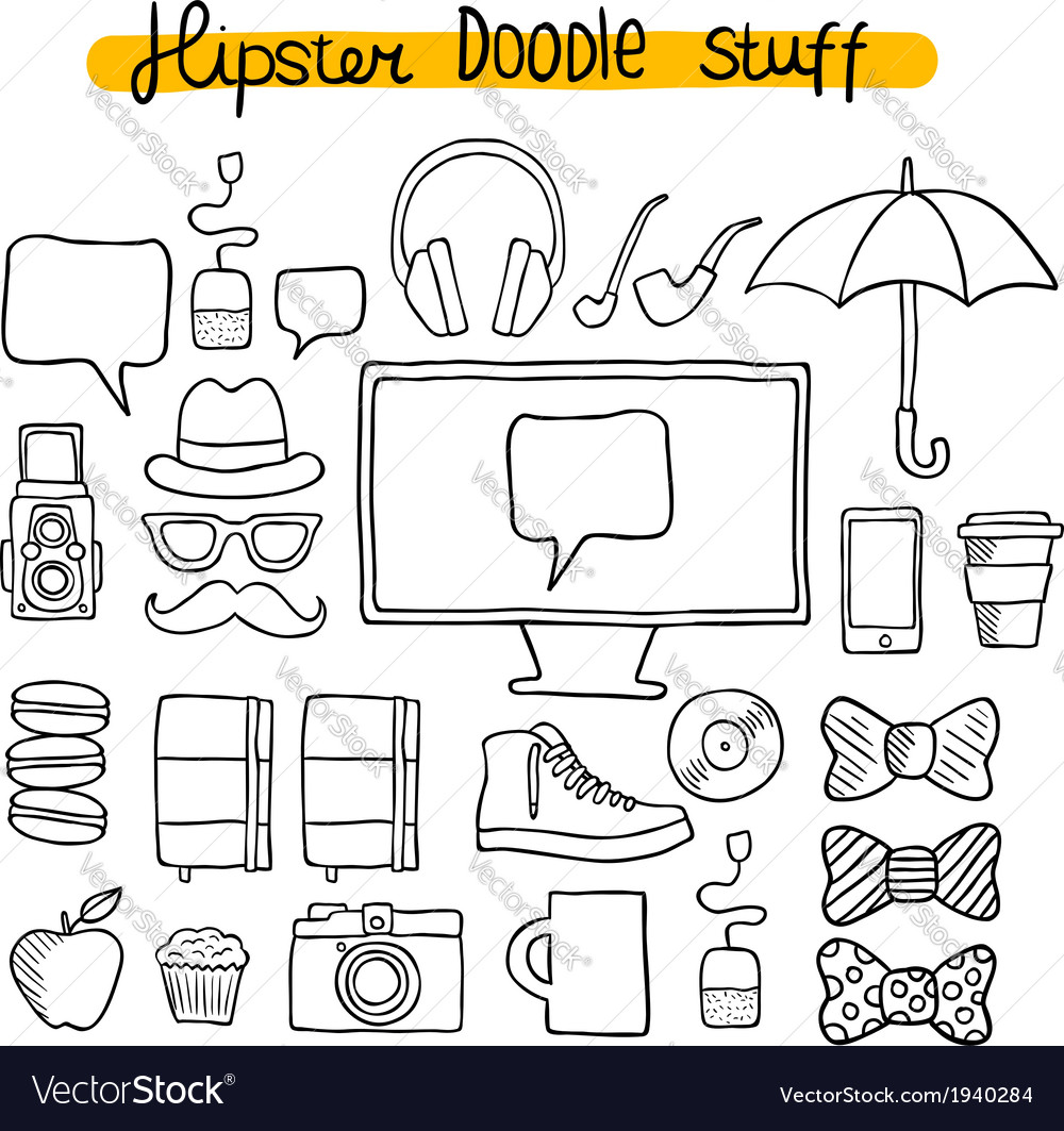 Hipster design doodle elements vector | Price: 1 Credit (USD $1)