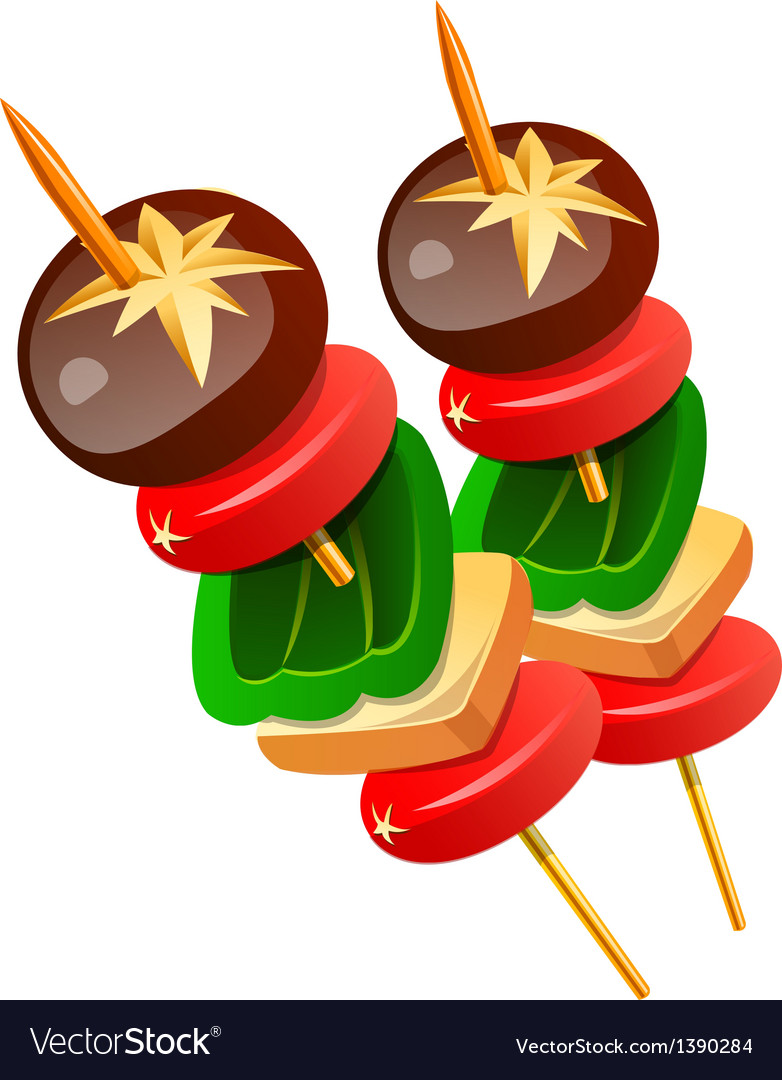 Icon skewered food vector | Price: 1 Credit (USD $1)