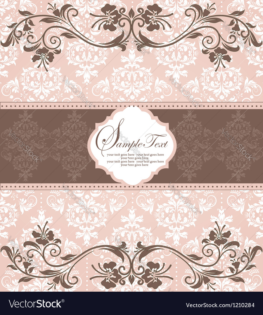 Invitation vintage card with floral elements vector | Price: 1 Credit (USD $1)