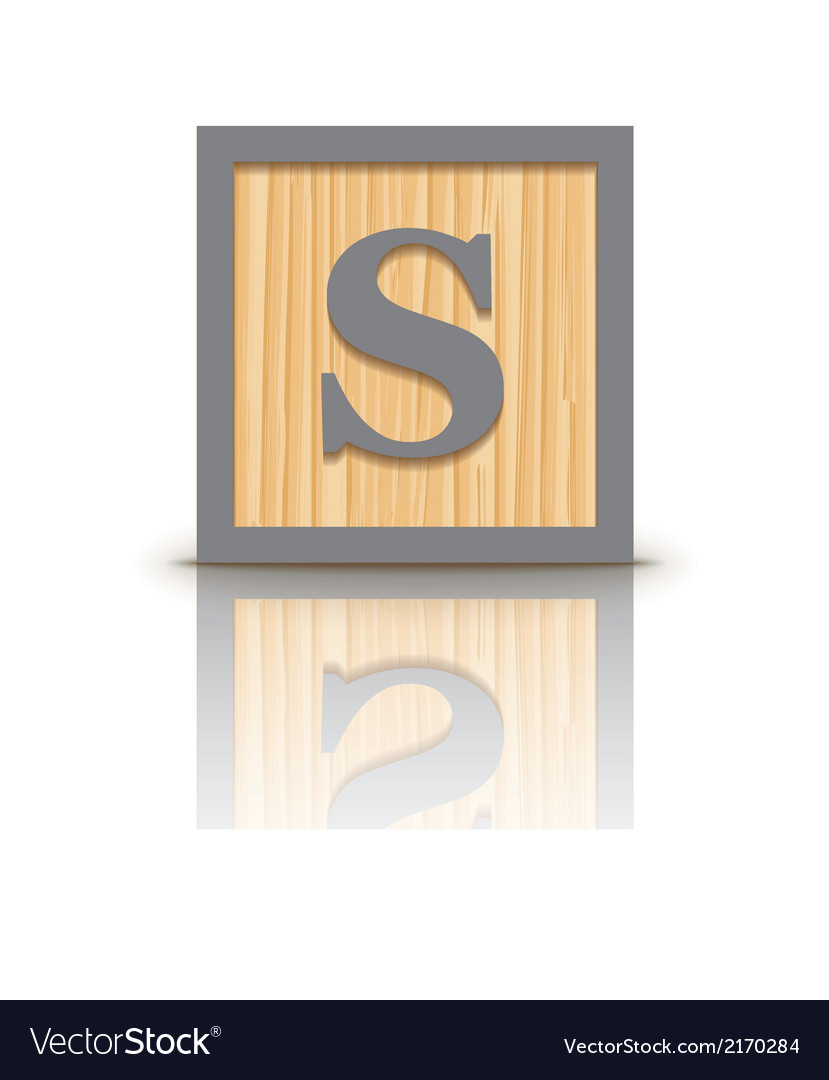 Letter s wooden alphabet block vector | Price: 1 Credit (USD $1)