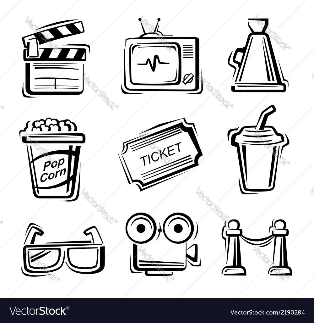 Movie icon set vector | Price: 1 Credit (USD $1)