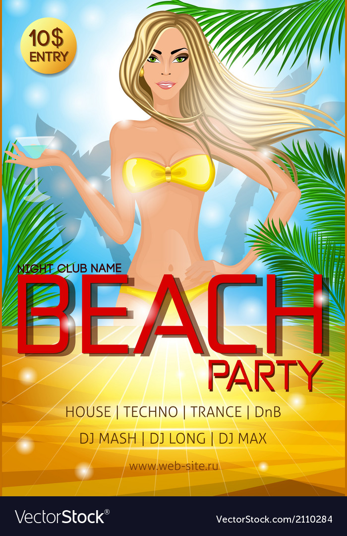 Night club beach party poster vector | Price: 1 Credit (USD $1)