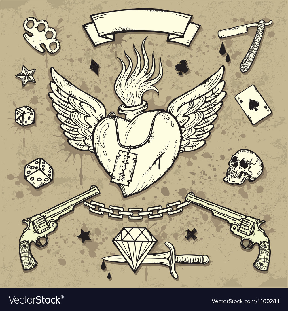 Set of old school tattoo elements vector | Price: 1 Credit (USD $1)