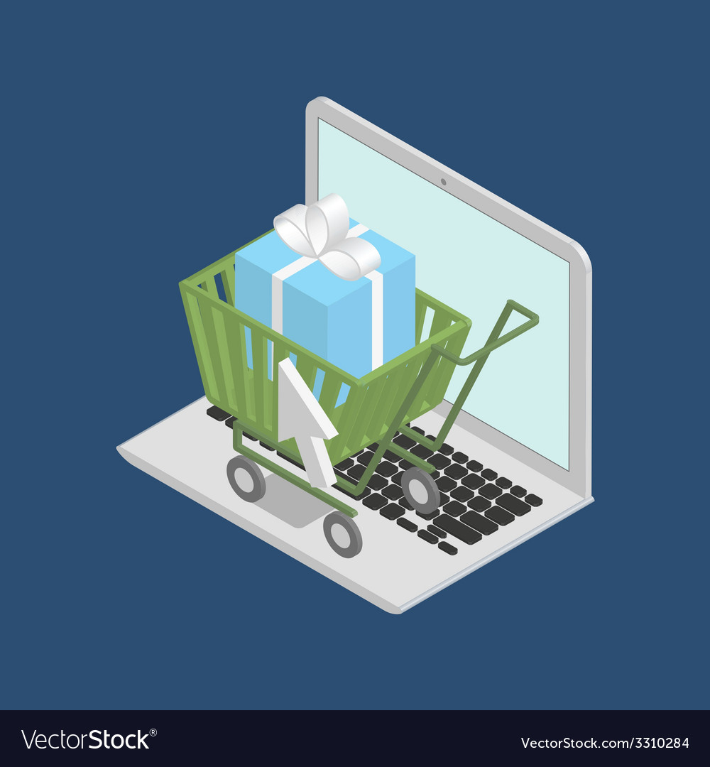 Shopping cart on laptop vector | Price: 1 Credit (USD $1)