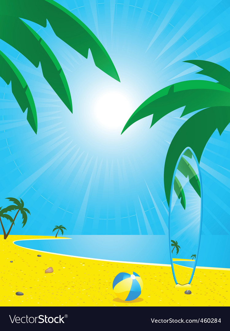 Summer beach and surf board vector | Price: 1 Credit (USD $1)