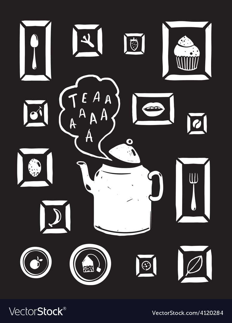 Teapot drinking tea and cooking art frames on vector | Price: 1 Credit (USD $1)