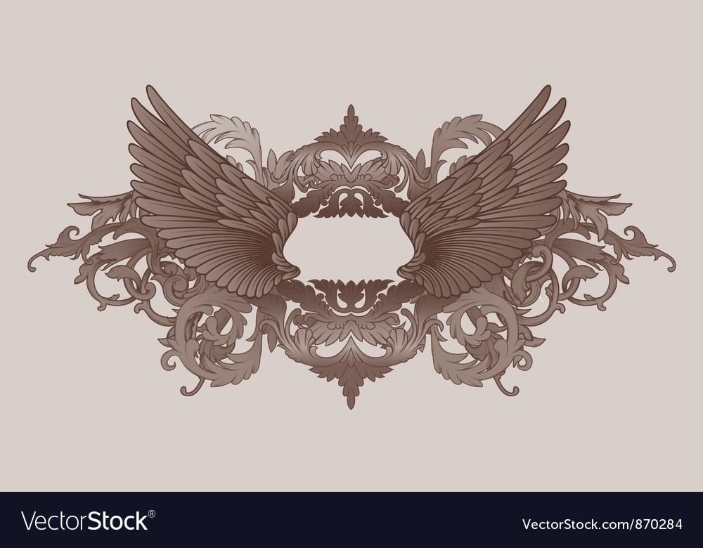Vintage floral with wings vector | Price: 1 Credit (USD $1)