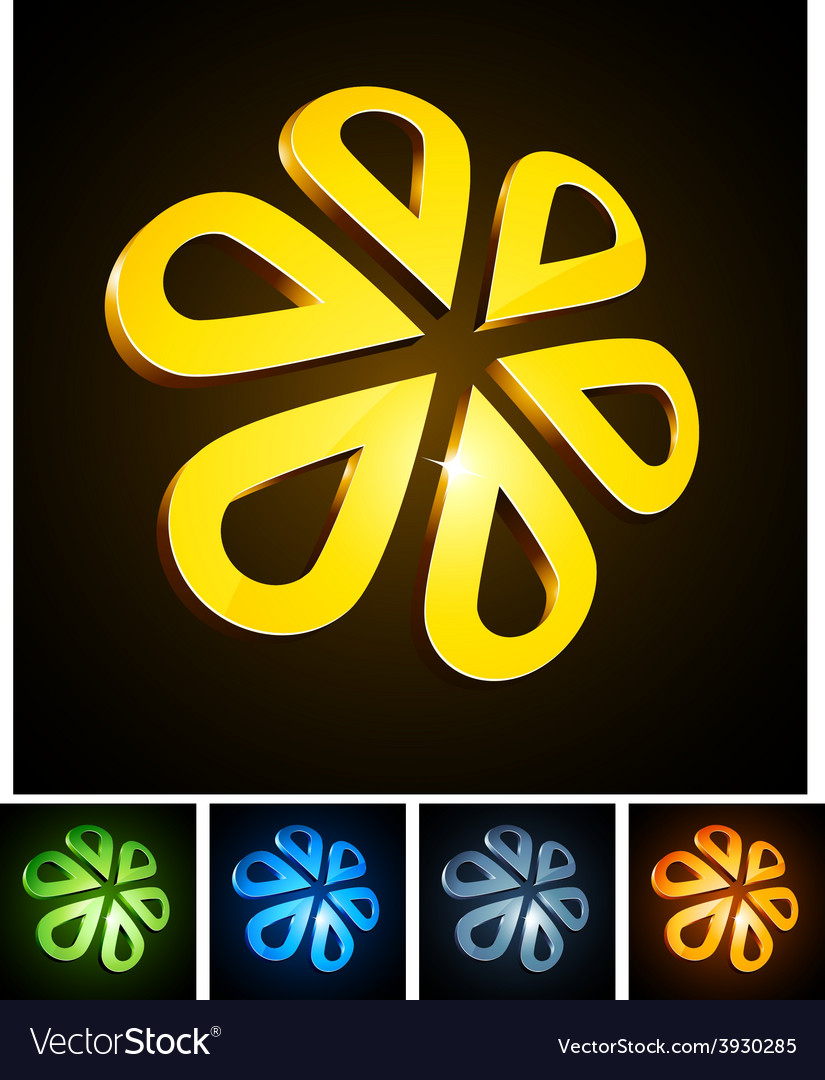 3d flower emblems vector | Price: 1 Credit (USD $1)