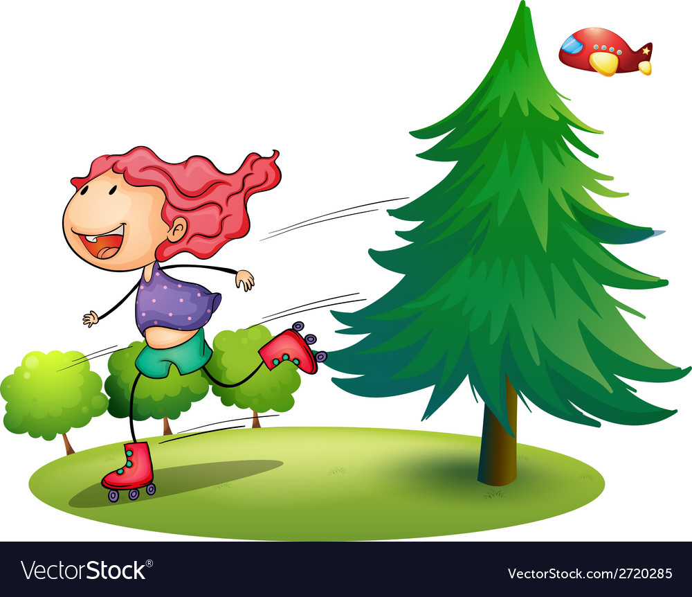 A girl rollerskating near the pine tree vector | Price: 1 Credit (USD $1)