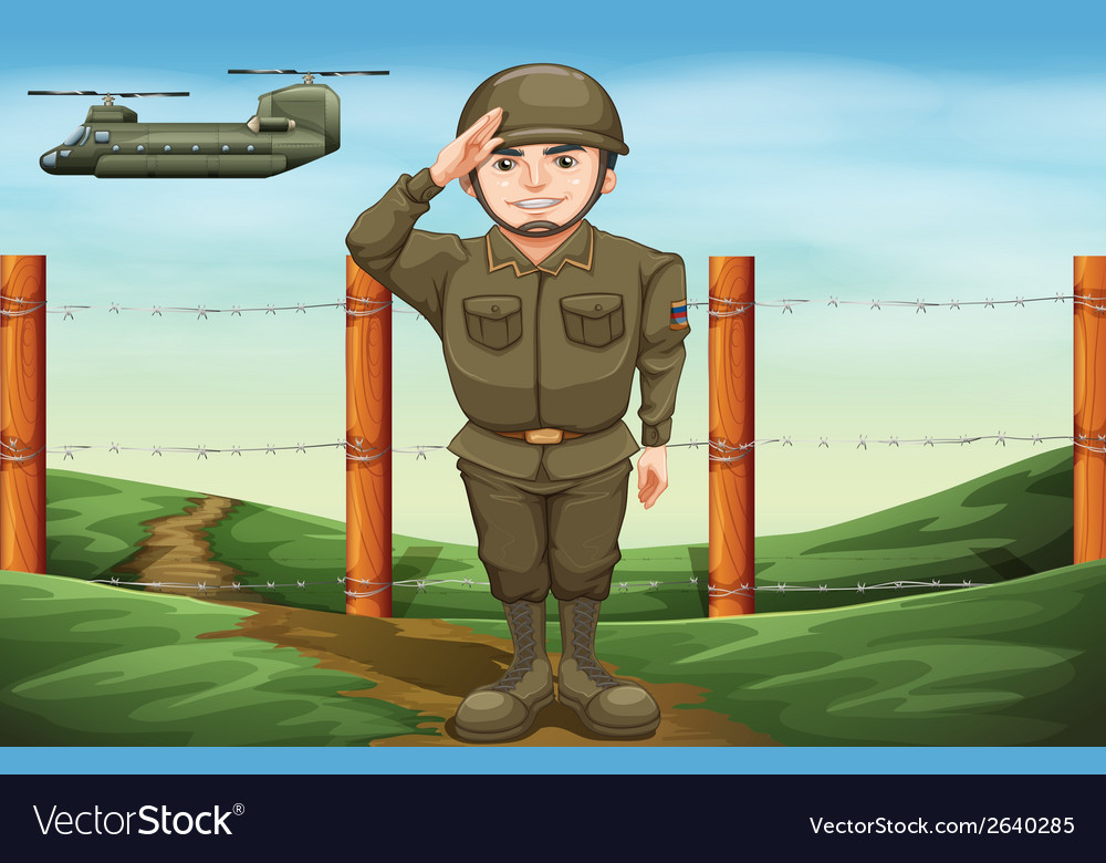 An officer doing a hand salute vector | Price: 3 Credit (USD $3)