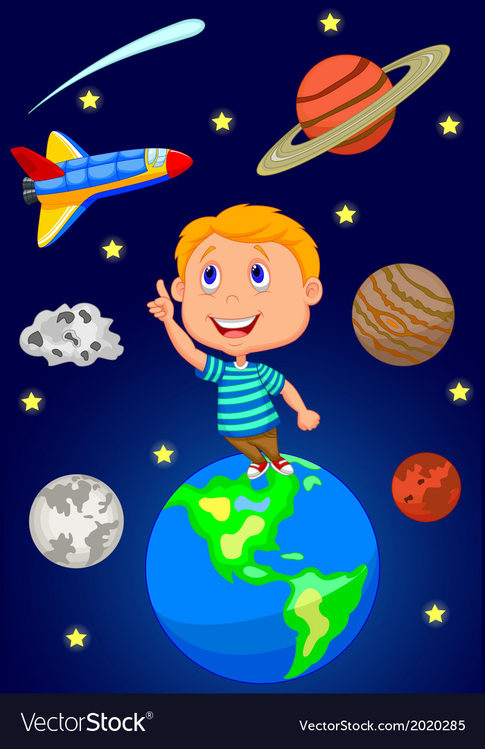 Cartoon boy looking at the sky vector   Price: 1 Credit (USD $1)