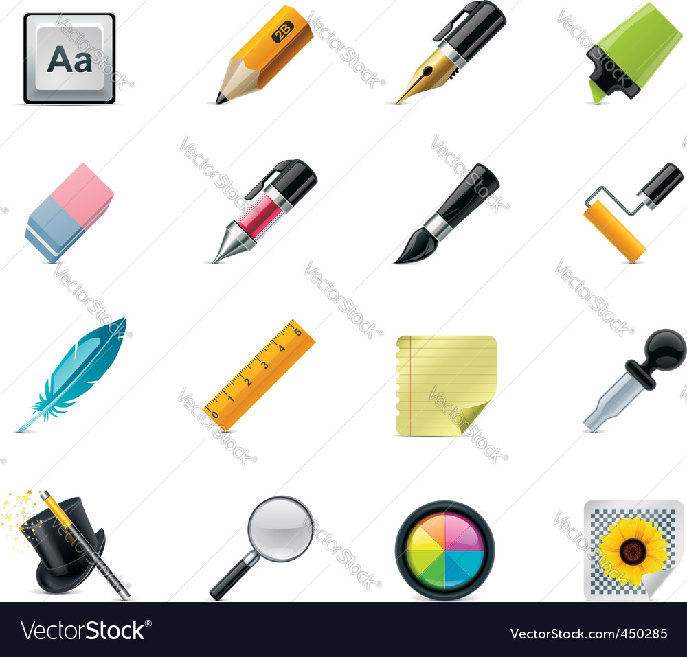 Drawing  writing tools icons vector | Price: 3 Credit (USD $3)