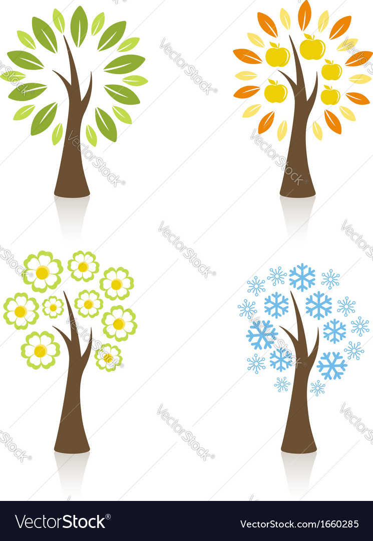 Four season trees vector | Price:  Credit (USD $)