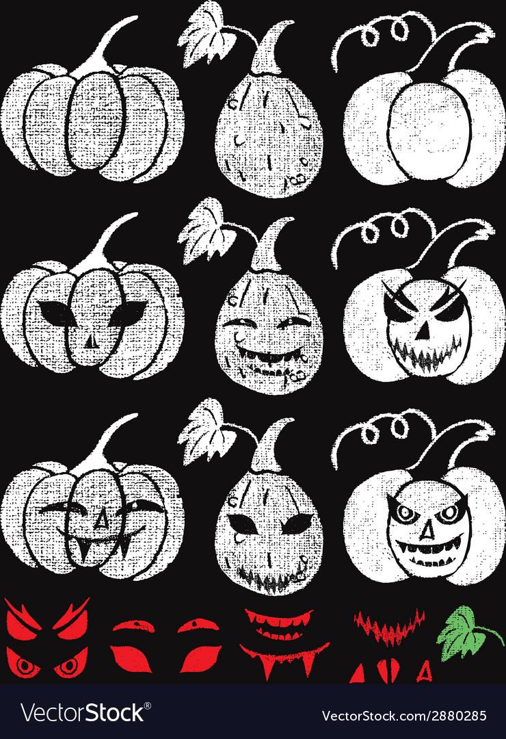 Hand drawn halloween chalk pumpkins set vector | Price: 1 Credit (USD $1)