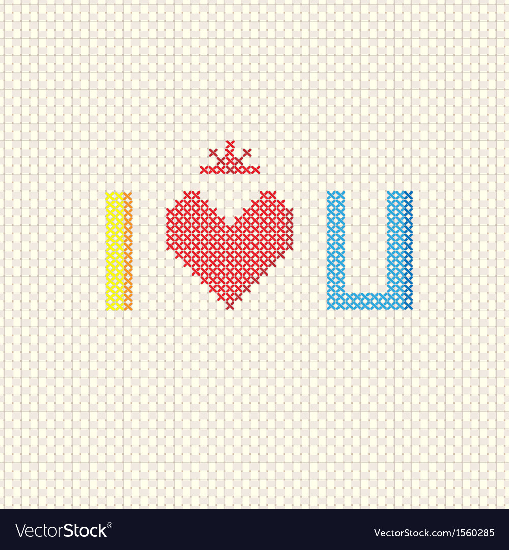 I love you on cross stitch style vector | Price: 1 Credit (USD $1)