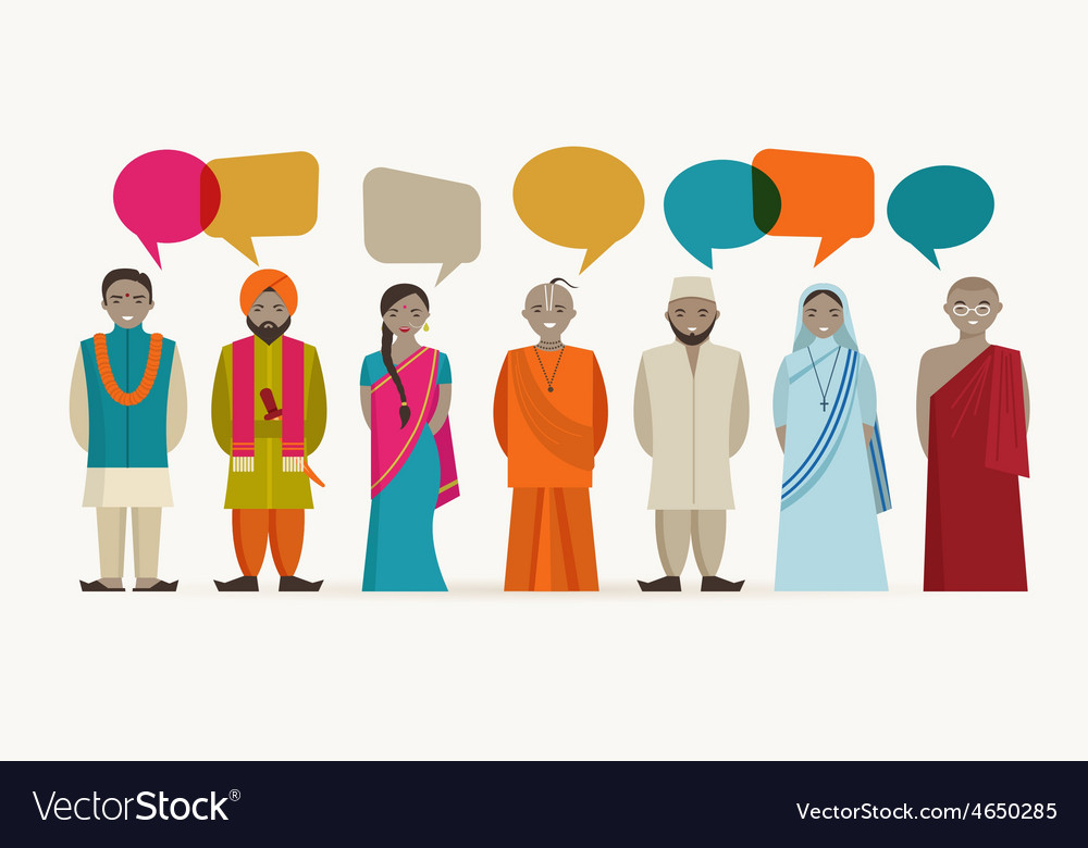 Indian people talk - different indian religious vector | Price: 1 Credit (USD $1)