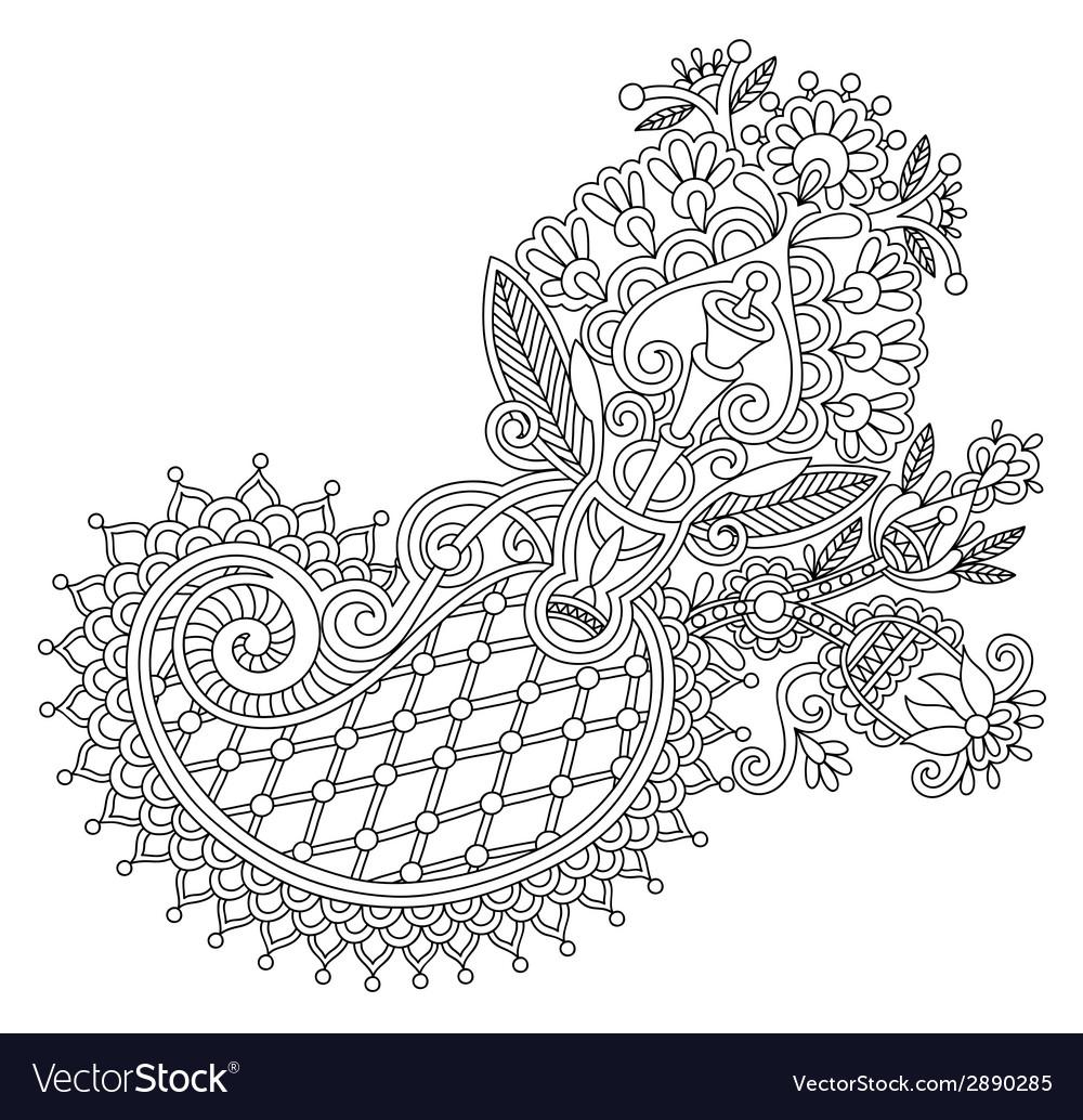 Original line art ornate flower design vector | Price: 1 Credit (USD $1)