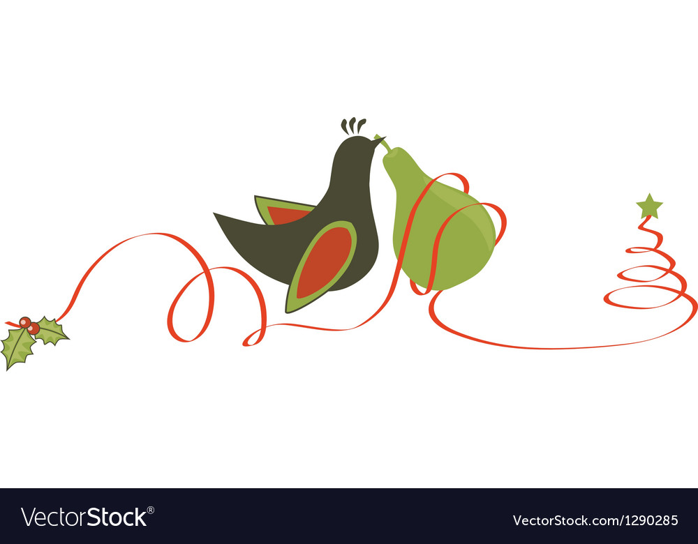 Partridge and pear christmas vector | Price: 1 Credit (USD $1)