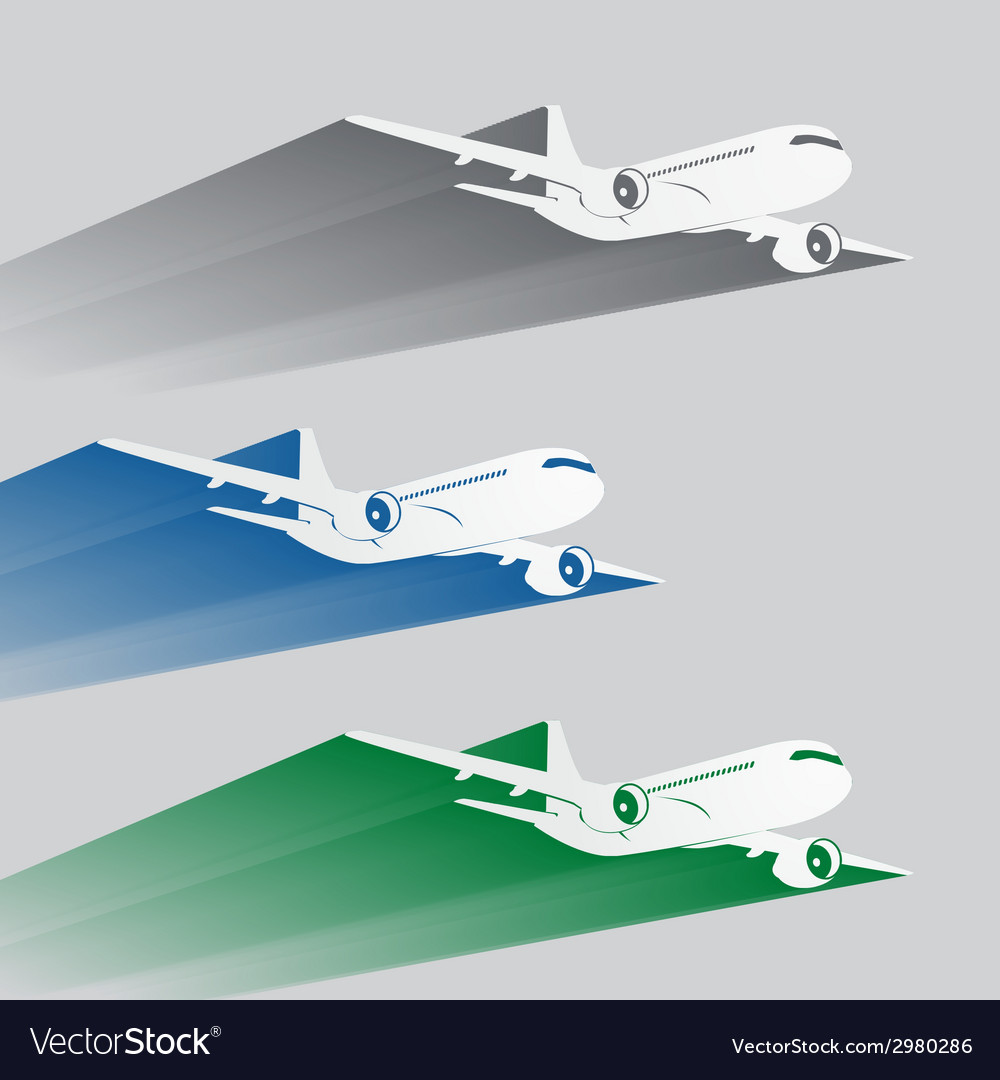 Airplanes silhouettes with color trace vector | Price: 1 Credit (USD $1)