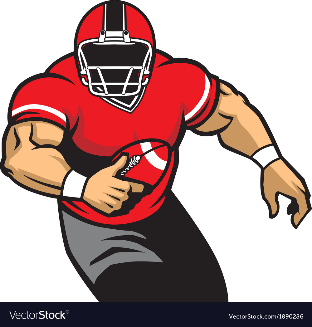 American football player run vector | Price: 3 Credit (USD $3)