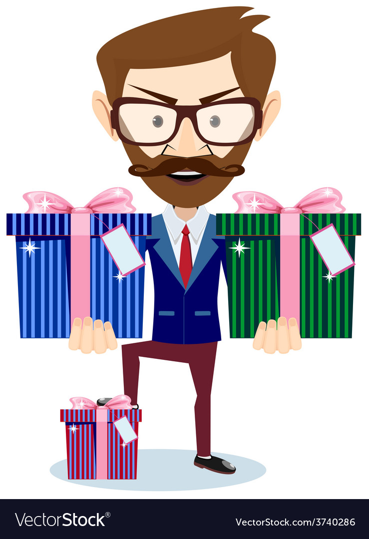 Businessman offering many gifts vector | Price: 1 Credit (USD $1)