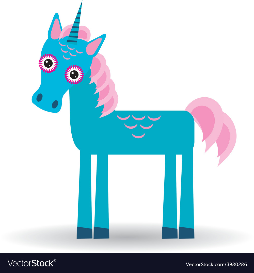 Funny blue unicorn pink mane on a white background vector | Price: 1 Credit (USD $1)