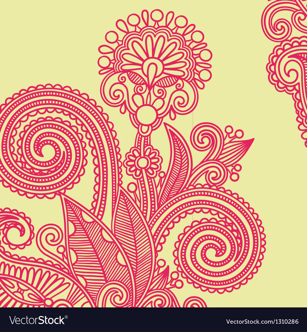 Hand draw ornate flower design element vector | Price: 1 Credit (USD $1)