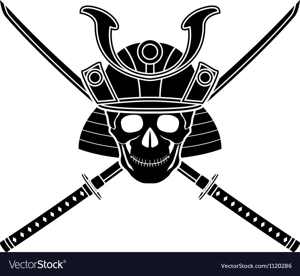 Japanese helmet and two sword vector | Price: 1 Credit (USD $1)