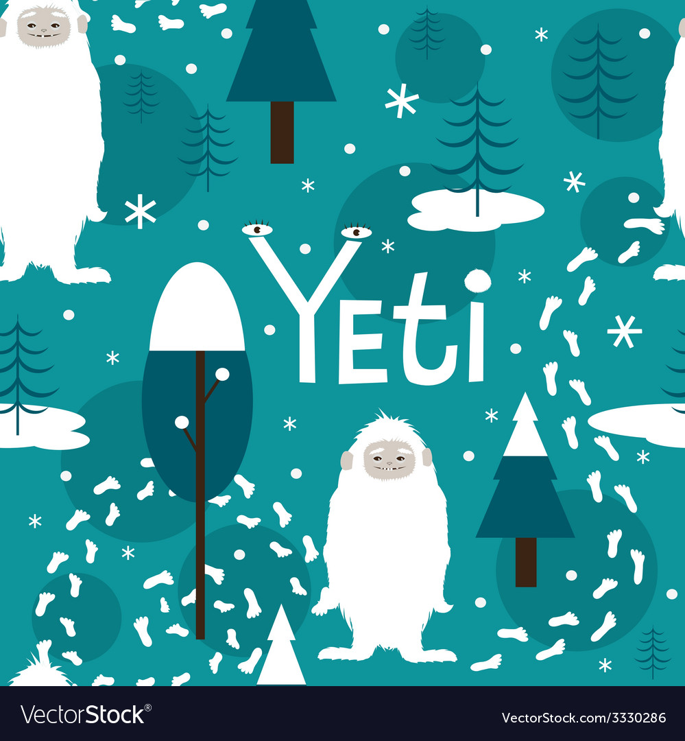 Seamless print with cute yeti vector | Price: 1 Credit (USD $1)