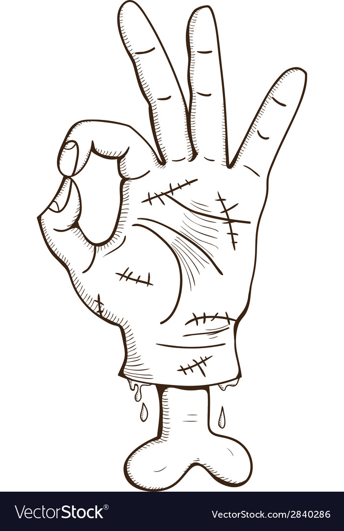 Zombie hand with ok sign vector | Price: 1 Credit (USD $1)