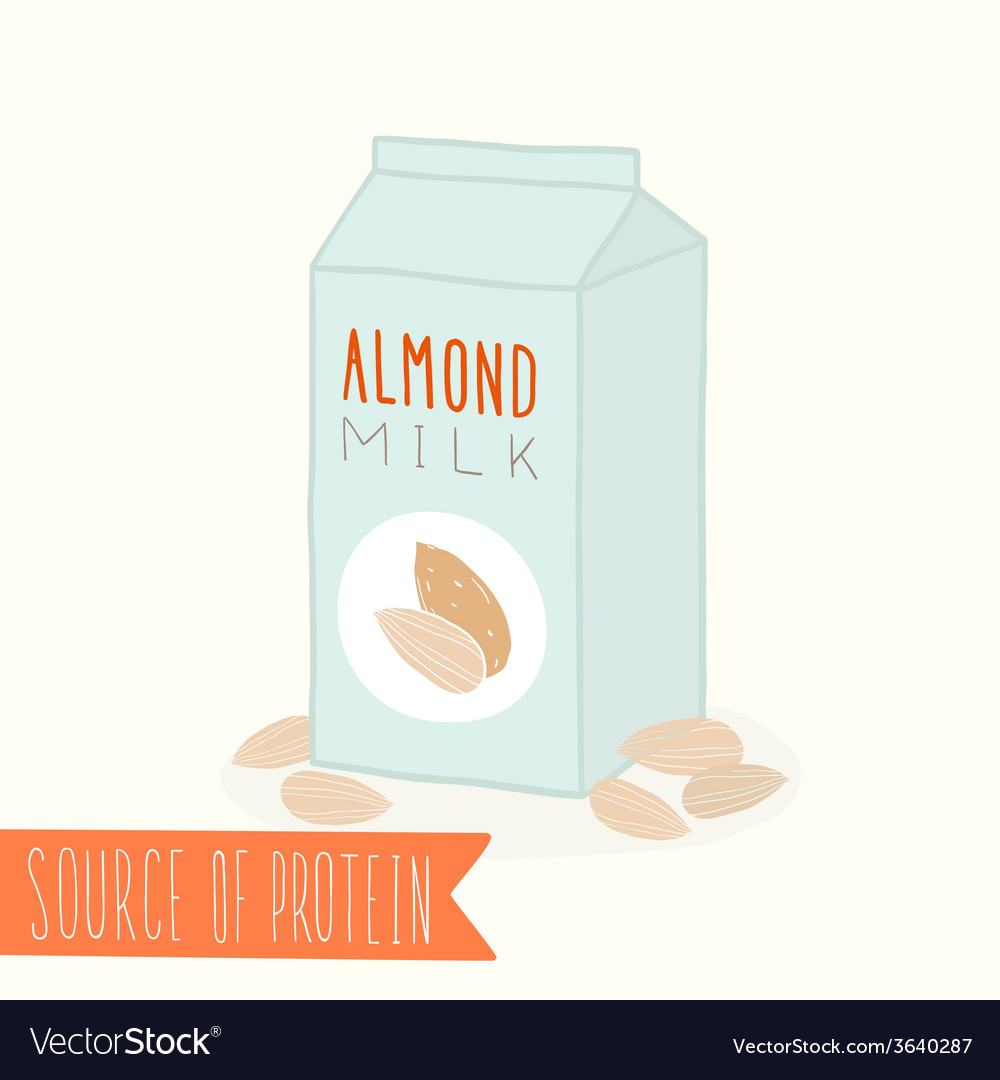 Almond milk in a carton pack vector | Price: 1 Credit (USD $1)