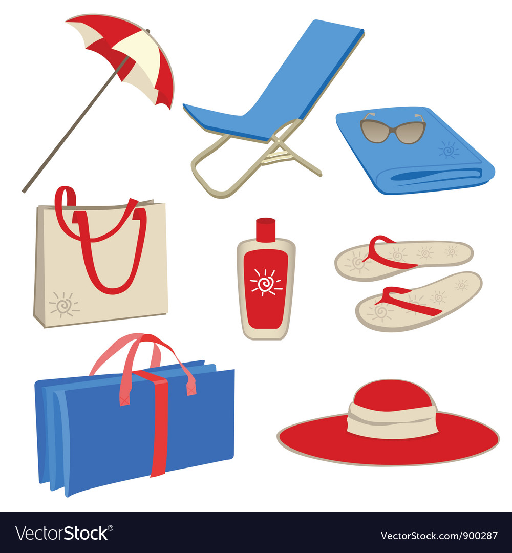 Beach icon set vector | Price: 3 Credit (USD $3)