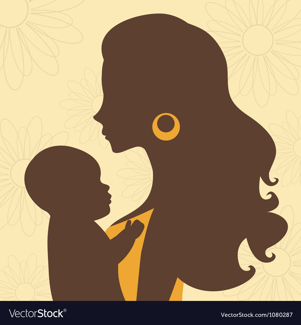 Beautiful mom holding baby vector | Price: 1 Credit (USD $1)