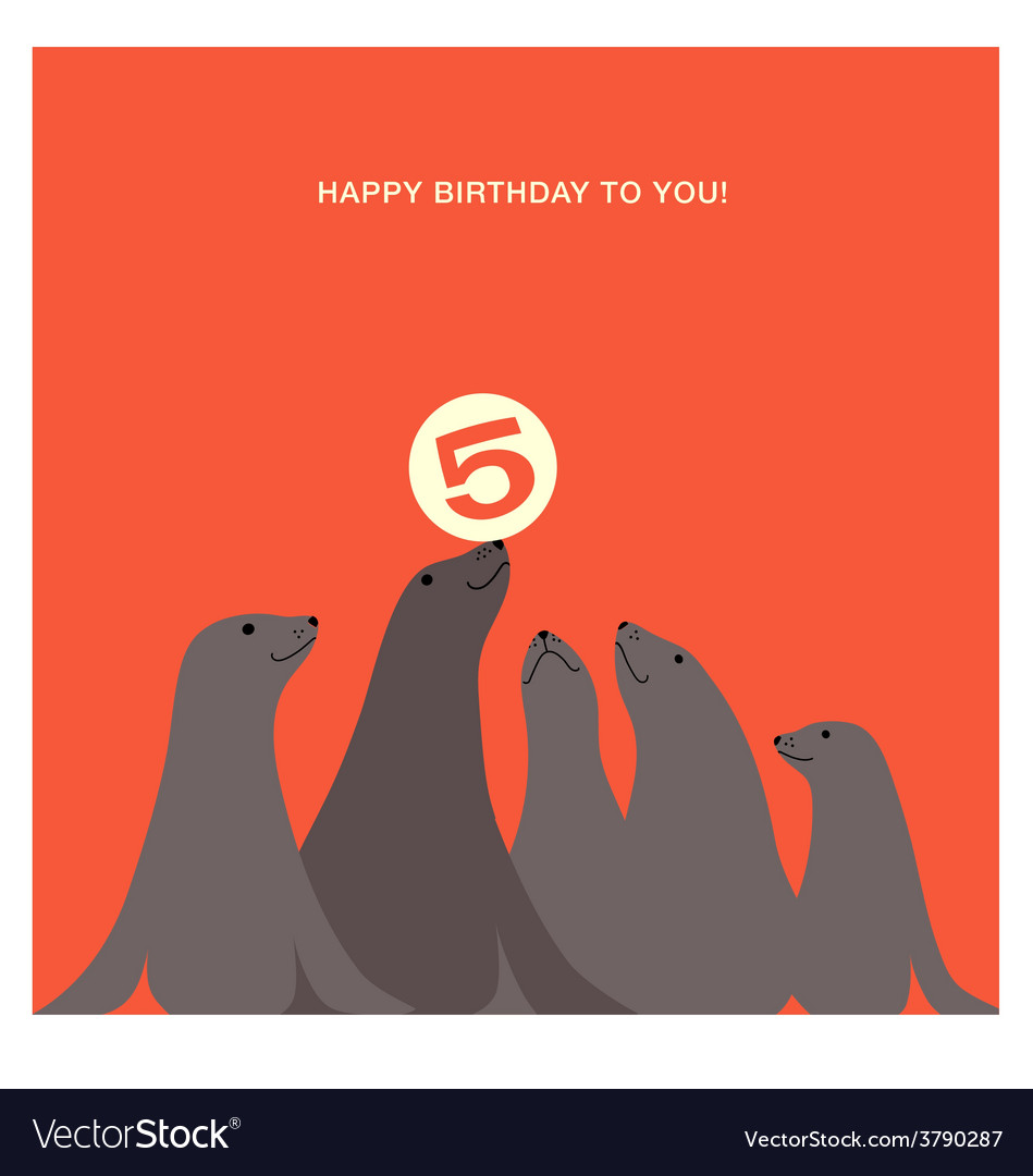 Birthday card design with sea lions vector | Price: 1 Credit (USD $1)