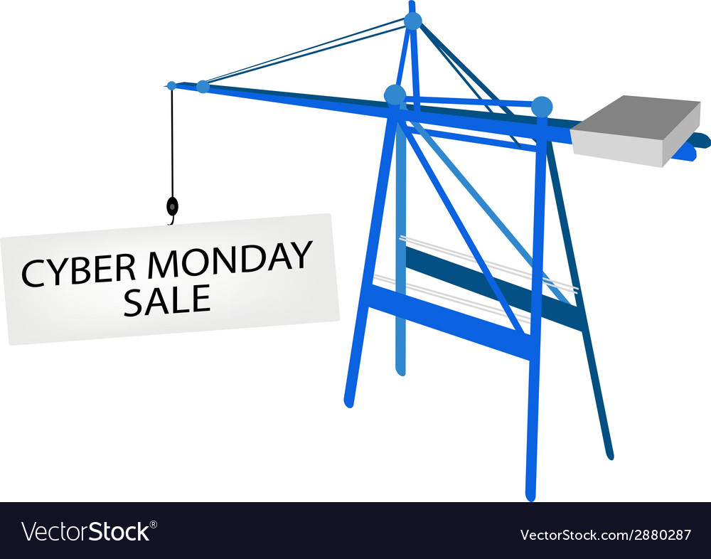 Blue mobile crane with cyber monday billboard vector | Price: 1 Credit (USD $1)