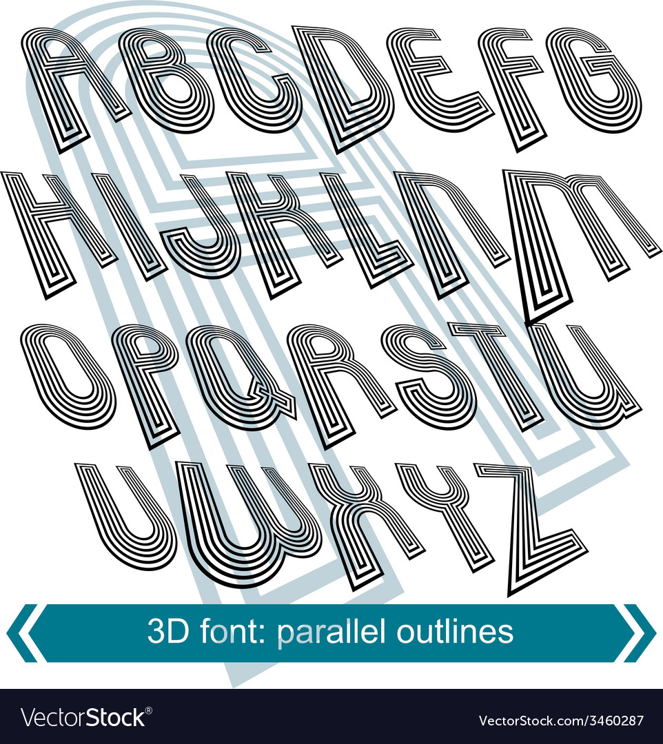 Dimensional font with rotation effect perspective vector | Price: 1 Credit (USD $1)