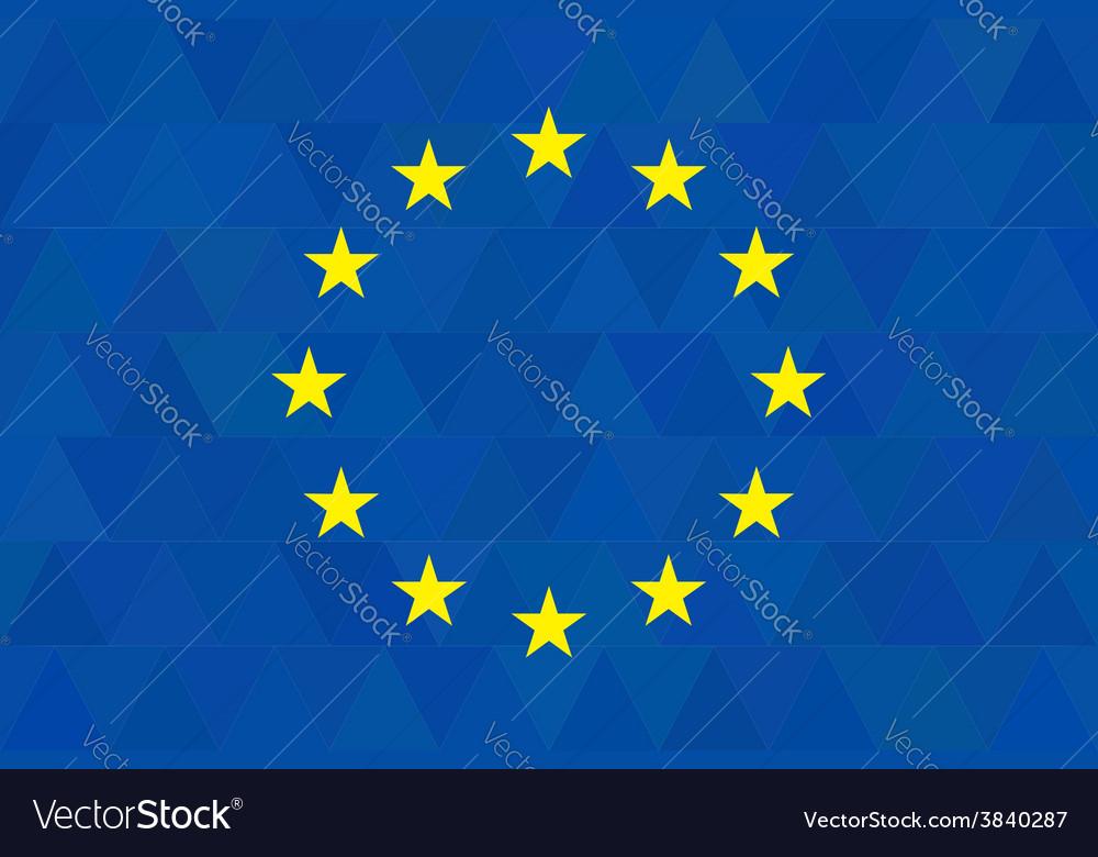 European union flag on unusual blue triangles vector   Price: 1 Credit (USD $1)