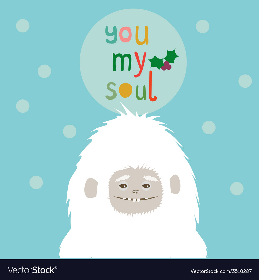 Holiday greetings card with yeti vector | Price: 1 Credit (USD $1)