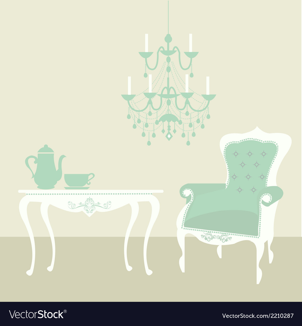 Living room vintage vector | Price: 1 Credit (USD $1)