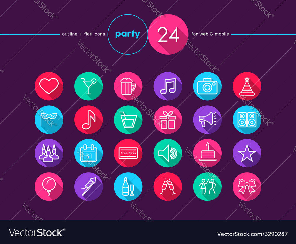 Party flat icons set vector | Price: 1 Credit (USD $1)