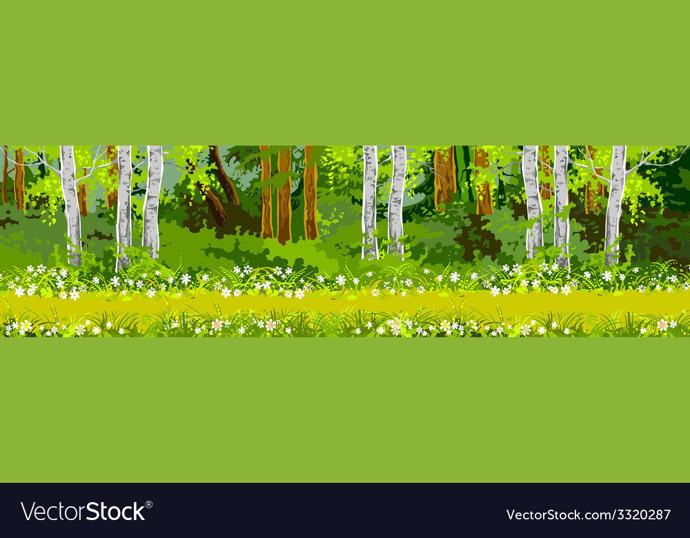 Pathway in the forest panorama vector | Price: 1 Credit (USD $1)